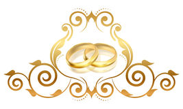 Gold rings. Vector floral frame with gold rings Royalty Free Stock Images