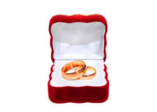 Gold rings. Wedding rings in red box isolated on white background Royalty Free Stock Image
