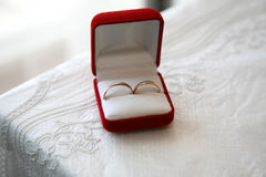Gold rings for weddings are in the box Royalty Free Stock Photo