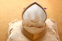 Gold rings for weddings are in the box Royalty Free Stock Photography