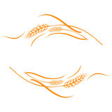 Gold ripe wheat ears frame, border or corner element. Vector illustration of a few gold ripe wheat ears. Can be used as frame, corner or border design element Stock Image
