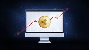 Gold ripple coin with bull stock chart. Golden ripple coin with bull trading stock chart and rising arrow on computer. Ripple blockchain token grows in price on Stock Images