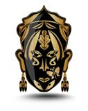 Gold ritual woman face, iconic mask, avatar. A loose adaptation of exotic folklore theme vector illustration