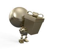 Gold robot with big gift. Congratulations! stock illustration