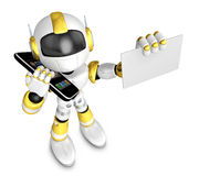 Gold Robot character calls and present business card. Create 3D Stock Photo