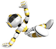 Gold Robot Character dancing is an intense dance with one arm. C Royalty Free Stock Photography