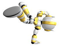 Gold Robot Character dancing is an intense dance with one arm. C Stock Image