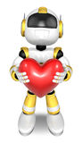 Gold robot Character is holding a heart with both hands. Create Royalty Free Stock Images