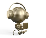 Gold robot in headphones with notebook Royalty Free Stock Images