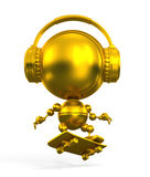 Gold robot skateboarder in headphones Royalty Free Stock Photography