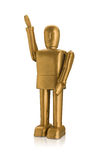 Gold robot waving with reflection isolated Royalty Free Stock Photo