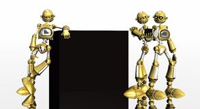 Gold robots Royalty Free Stock Photos