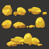 Gold rock,nugget set. Stones single or piled for damage and rubble for game art architecture design Stock Photos