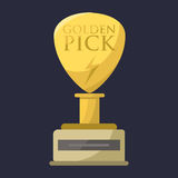 Gold rock star trophy music best entertainment win achievement clef and sound shiny golden melody success prize pedestal Royalty Free Stock Photography