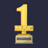 Gold rock star trophy music best entertainment win achievement clef and sound shiny golden melody success prize pedestal Royalty Free Stock Image