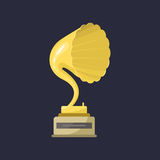 Gold rock star trophy music gramophone best entertainment win achievement clef and sound shiny golden melody success Stock Photography