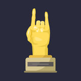 Gold rock star trophy music hand note best entertainment win achievement clef and sound shiny golden melody success. Prize pedestal victory vector illustration vector illustration