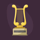 Gold rock star trophy music harp best entertainment win achievement clef and sound shiny golden melody success prize. Pedestal victory vector illustration Royalty Free Stock Images