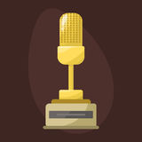 Gold rock star trophy music microphone best entertainment win achievement clef and sound shiny golden melody success Royalty Free Stock Photography