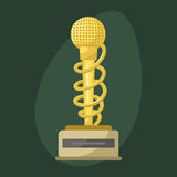 Gold rock star trophy music microphone best entertainment win achievement clef and sound shiny golden melody success Stock Photos