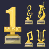 Gold rock star trophy music notes best entertainment win achievement clef and sound shiny golden melody success prize Royalty Free Stock Images