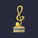 Gold rock star trophy music notes best entertainment win achievement clef and sound shiny golden melody success prize Stock Photography