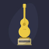 Gold rock star trophy music notes best entertainment win achievement clef and sound shiny golden melody success prize Royalty Free Stock Photography