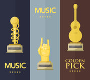 Gold rock star trophy music notes best entertainment win achievement clef and sound shiny golden melody success prize Stock Images