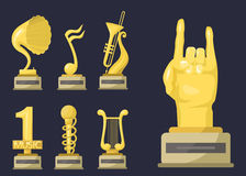 Gold rock star trophy music notes best entertainment win achievement clef and sound shiny golden melody success prize Royalty Free Stock Image