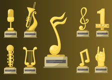 Gold rock star trophy music notes best entertainment win achievement clef and sound shiny golden melody success prize Stock Photo