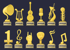 Gold rock star trophy music notes best entertainment win achievement clef and sound shiny golden yellow melody success Stock Photography