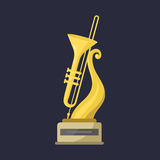 Gold rock star trophy music saxophone best entertainment win achievement clef and sound shiny golden melody success Royalty Free Stock Images