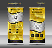 Gold Roll up banner template vector, roll up stand, banner  Royalty Free Stock Photos