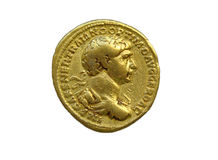 Gold Roman aureus coin of Roman emperor Trajan. AD 98-117 isolated on a white background Stock Photos