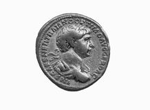 Gold Roman aureus coin of Roman emperor Trajan. AD 98-117 isolated on a white background as a black and white image Stock Image