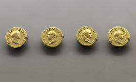 Gold Roman Imperial coins bearing the bust of Emperor Vespasian Royalty Free Stock Photo