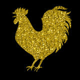 Gold rooster with glitter, silhouette, , vector illustration Stock Photo