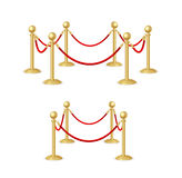 Gold Rope Barrier Constructor Set. Vector Stock Photos