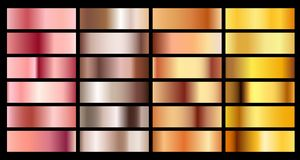 Gold rose, bronze, silver and gold texture gradient background. Metal chrome palette copper collection vector illustration