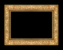 gold rose frame isolated on black background and clipping path. Royalty Free Stock Photo