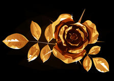 Gold rose with petals and leaves,  on a black background Royalty Free Stock Photo