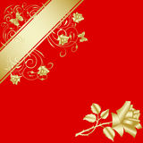 Gold  rose on red background 3 Stock Photo