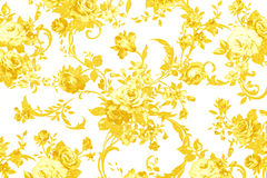Gold rose on white fabric background, Fragment of colorful retro Stock Photography