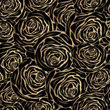 Gold roses on a black background Stock Photography