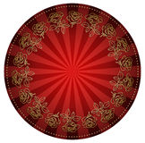 Gold roses frame on bright red round background - vector Royalty Free Stock Photo