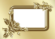 Gold roses with gold frame Royalty Free Stock Photos