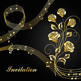 Gold roses with music notes. Vector illustration with gold music notes and roses on black background Royalty Free Stock Photography