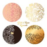 Gold and roses round stickers Stock Photos