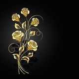 Gold roses with shadow on dark background. Royalty Free Stock Photography