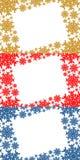 Gold-, Roter und Blauerweihnachtsrahmen, der Schneeflocken enthält Lizenzfreie Stockfotografie